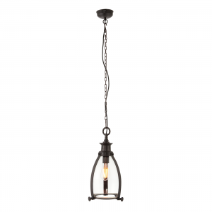 Aged Bronze Effect Plate & Clear Glass 210mm Pendant 40W
