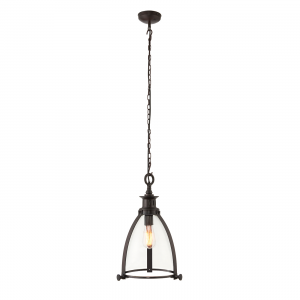 Aged Bronze Effect Plate & Clear Glass 285mm Pendant 40W