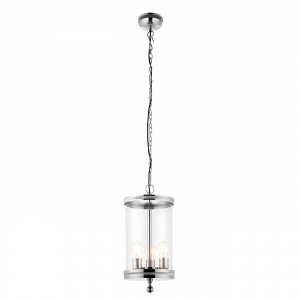 Polished Nickel Plate & Clear Glass 3lt Pendant 60W