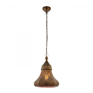 Aged Bronze Effect Plate 1lt Pendant 40W