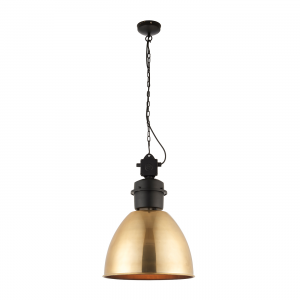 Antique Brass Tinted Lacquer & Matt Black 1lt Pendant 40W