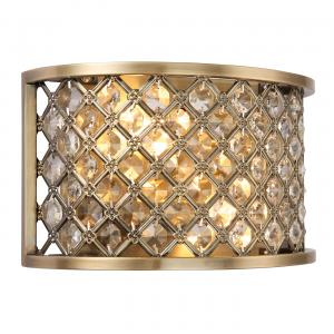 Antique Brass Effect Plate & Clear Crystal (k9) Drops 2lt Wall 60W