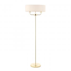 Brass Effect Plate & Vintage White Faux Silk 2lt Floor 40W