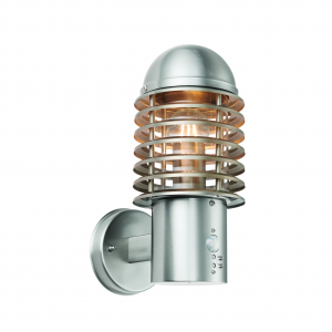 Brushed Stainless Steel & Clear Pc 1lt Wall IP44 60W