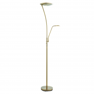 Antique Brass Effect Mother & Child Task Reading Floor Lamp 180cm LED 18W & 6W