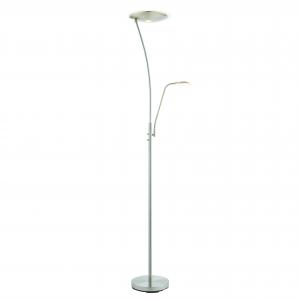 Satin Chrome Effect Mother & Child Task Reading Floor Lamp 180cm LED 18W & 6W