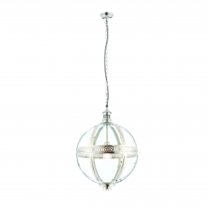 Bright Nickel Plated On Solid Brass & Clear Glass 410mm Pendant 40W