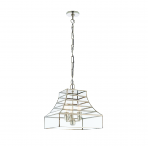 Polished Stainless Steel & Clear Glass 3lt Pendant 40W