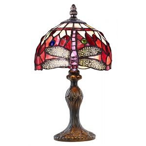 Hand Crafted Red Stained Glass Dragonfly Tiffany Lamp