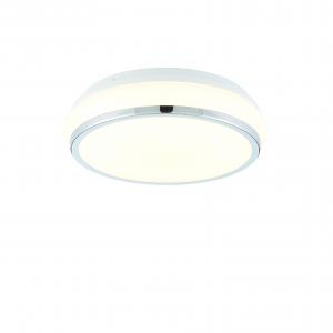 White Acrylic & Chrome Effect Plate Flush IP44 15W