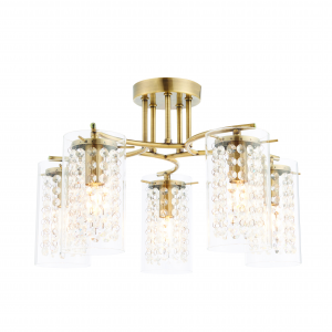 Antique Brass Effect Plate & Clear Glass Drops 5lt Semi Flush 40W