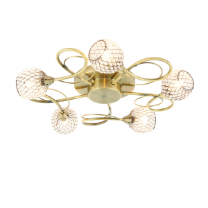 Antique Brass Effect Semi Flush Ceiling Light With Clear Bead Shades 33W 5 light