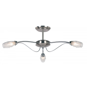 Satin Chrome Effect Plate & Clear Glass With Acid Inner 3lt Semi Flush 33W