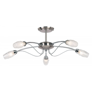 Satin Chrome Effect Plate & Clear Glass With Acid Inner 5lt Semi Flush 33W