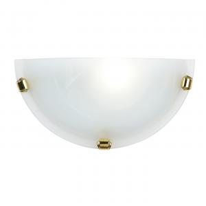 Alabaster Glass & Brass Effect Plate 1lt Wall 60W