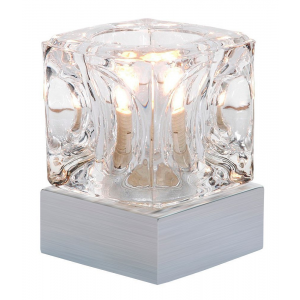 Ice Cube Touch Dimmable Table Lamp with Satin Chrome Base