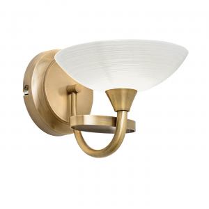 Antique Brass Effect Wall Light With Faint Line Patterned Glass 1 Light 33W