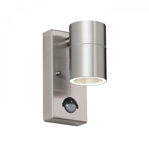 Polished Stainless Steel & Clear Glass 1lt Wall IP44 35W