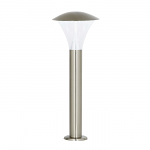 Brushed Stainless Steel & Frosted Pc Post IP44 6W