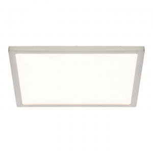 Satin Nickel Effect Plate & Opal Ps Plastic 250mm Square Flush 10W