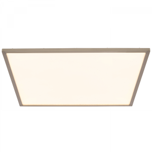 Satin Nickel Effect Plate & Opal Ps Plastic 450mm Square Flush 30W