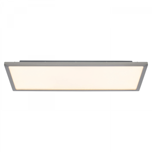 Satin Nickel Effect Plate & Opal Ps Plastic 450mm Rectangle Flush 20W