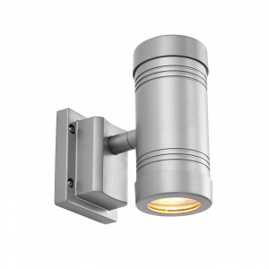 Aluminium & Clear Glass 2lt Wall IP55 5W