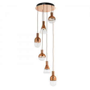 Copper Plate & Clear Glass With Copper Detail 6lt Pendant 20W