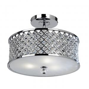 Chrome Effect Plate & Clear Crystal (k9) Drops 3lt Semi Flush 60W
