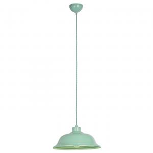 Light Green Paint With Green & White Herringbone Braided Flex 1lt Pendant 60W