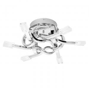 Chrome Effect Plate & Clear Glass 6lt Semi Flush 10W