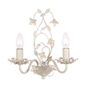 Cream & Brushed Gold Effect Wall Light with Pearl Effect Shades - 2 light 60w