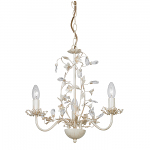 Cream & Brushed Gold Effect Pendant Light with Pearl Effect Shades - 3 light 60w