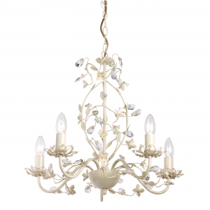 Cream With Brushed Gold Effect Paint & Clear And Pearl Effect Acrylic 5lt Pendant 60W