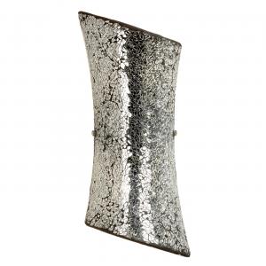 Mosaic Mirror Glass & Satin Nickel Effect Plate 2lt Wall 40W