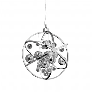 Chrome Effect Plate With Clear & Chrome Glass Balls 480mm Pendant 10W