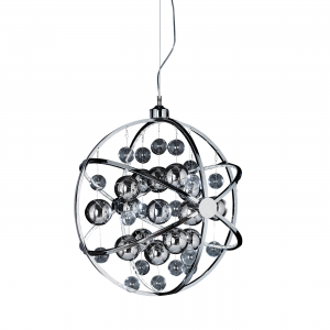 Chrome Effect Plate With Clear & Chrome Glass Balls 600mm Pendant 13W