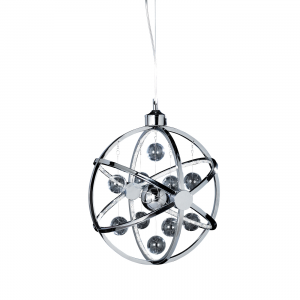 Chrome Effect Plate With Clear & Chrome Glass Balls 390mm Pendant 7.5W