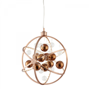 Copper Plate With Clear & Copper Balls 480mm Pendant 10W