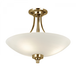 White Painted Glass With Faint Line Pattern & Antique Brass Effect Plate 3lt Semi Flush 60W