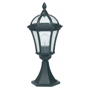 Textured Black Paint & Clear Glass Post IP44 60W