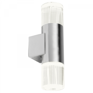 Polished Stainless Steel & Clear Crystal With Acid Lines 2lt Wall IP44 1W