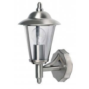 Polished Stainless Steel & Clear Pc Uplight 1lt Wall IP44 60W