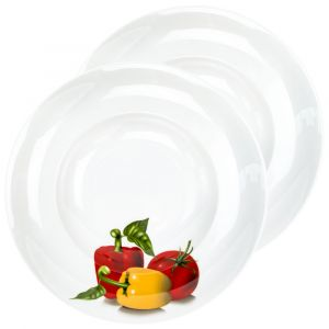 Set of Two 11 Inch White Ceramic Gloss Tomato and Pepper Bowls