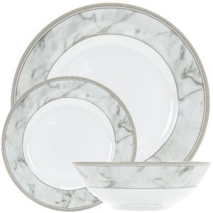 Contemporary Grey Marble Effect Gloss Ceramic 12-Piece Dinner Set