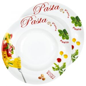Set of 2 11 Inch White Ceramic Pasta Bowls with Colourful Illustrations