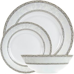 Traditionally Designed Grey Black and White Floral 12-Piece Ceramic Dinner Set