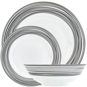 Modern and Trendy Matt Black Striped Ceramic Gloss Dinner Set - 12 Piece