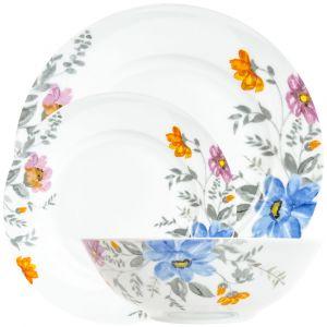 Blue Pink Orange and Grey Floral Watercolor Design 12-Piece Ceramic Dinner Set