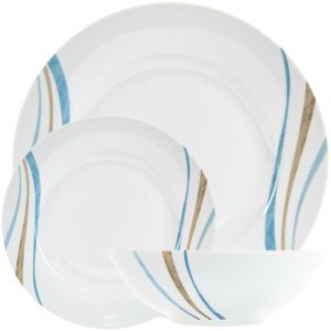 Modernistic Ceramic 12-Piece Dinner Set with Decorative Brown and Blue Stripes